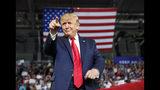 El presidente de Estados Unidos, Donald Trump, señala a la multitud a su llegada para hablar en un mitin de campaña en el Williams Arena de Greenville, Carolina del Norte, el miércoles 17 de julio de 2019. (AP Foto/Carolyn Kaster)