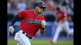 Cleveland Indians' Oscar Mercado runs after hitting a two-run single during the third inning of the team's baseball game against the Detroit Tigers, Wednesday, July 17, 2019, in Cleveland. (AP Photo/David Dermer)