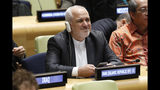 Iran's Foreign Minister Javad Zarif prepares to address the High Level Political Forum on Sustainable Development, at United Nations headquarters, Wednesday, July 17, 2019. (AP Photo/Richard Drew)