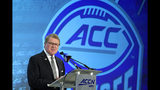 Commissioner John Swofford speaks during the Atlantic Coast Conference NCAA college football media day in Charlotte, N.C., Wednesday, July 17, 2019. (AP Photo/Chuck Burton)