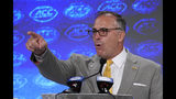 Pittsburgh head coach Pat Narduzzi speaks during the Atlantic Coast Conference NCAA college football media days in Charlotte, N.C., Thursday, July 18, 2019. (AP Photo/Chuck Burton)