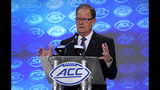 Duke head coach David Cutcliffe speaks during the Atlantic Coast Conference NCAA college football media days in Charlotte, N.C., Thursday, July 18, 2019. (AP Photo/Chuck Burton)