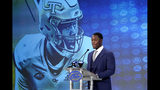 Georgia Tech's Jalen Camp speaks during the Atlantic Coast Conference NCAA college football media days in Charlotte, N.C., Thursday, July 18, 2019. (AP Photo/Chuck Burton)
