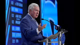 North Carolina head coach Mack Brown speaks during the Atlantic Coast Conference NCAA college football media days in Charlotte, N.C., Thursday, July 18, 2019. (AP Photo/Chuck Burton)