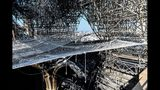 Parts of a destroyed ribbed vault and scaffolding are pictured at the Notre-Dame de Paris Cathedral, Wednesday, July 17, 2019 in Paris. The chief architect of France's historic monuments says that three months after the April 15 fire that devastated Notre Dame Cathedral the site is still being secured. (Stephane de Sakutin/Pool via AP)