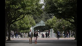 "People walk in front of Sather Gate on the University of California at Berkeley campus in Berkeley, Calif., Thursday, July 18, 2019. Soon students in Berkeley, California will have to pledge to ""collegiate Greek system residences"" instead of sororities or fraternities and city workers will have to refer to manholes as ""maintenance holes."" Berkeley leaders voted unanimously this week to replace about 40 gender-specific words in the city code with gender-neutral terms. (AP Photo/Jeff Chiu)"