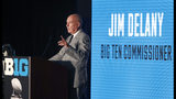 Big Ten Commissioner Jim Delany responds to a question during the Big Ten Conference NCAA college football media days Thursday, July 18, 2019, in Chicago. (AP Photo/Charles Rex Arbogast)