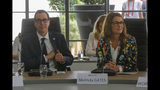 Melinda Gates, right, and US Treasury Secretary Steve Mnuchin attend a meeting at the G-7 Finance in Chantilly, north of Paris, on Thursday, July 18, 2019. (AP Photo/Michel Euler)
