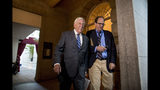 House Majority Leader Steny Hoyer of Md., left, arrives for a House Democratic caucus meeting on Capitol Hill in Washington, Wednesday, July 10, 2019. (AP Photo/Andrew Harnik)