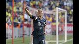 El zaguero Paul Aguilar (22) del América de México tras anotar un gol ante Boca Juniors de Argentina en un partido amistoso en Harrison, Nueva Jersey, el miércoles 3 de julio de 2019. (AP Foto/Seth Wenig)