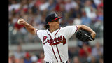 Atlanta Braves starting pitcher Kyle Wright works against the Washington Nationals during the first inning of a baseball game Thursday, July 18, 2019, in Atlanta. (AP Photo/Mike Zarrilli)
