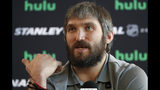 FILE - In this May 27, 2018, file photo, Washington Capitals left wing Alex Ovechkin speaks during an NHL hockey media day in Las Vegas. Capitals captain Alex Ovechkin will go to China as part of the NHL's continued outreach in that country. Ovechkin will visit Beijing in early August as a league ambassador. He's expected to take part in youth hockey clinics, interviews and business development meetings. (AP Photo/John Locher, FIle)