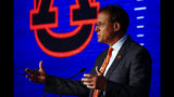 Auburn head coach Gus Malzahn speaks to reporters during the NCAA college football Southeastern Conference Media Days, Thursday, July 18, 2019, in Hoover, Ala. (AP Photo/Butch Dill)
