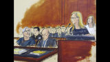 """In this courtroom artist's sketch, defendant Jeffrey Epstein, left, listens as accuser Annie Farmer, second from right, speaks during a bail hearing in federal court, Monday, July 15, 2019 in New York. Farmer says she was 16 when she """"had the misfortune"""" of meeting Epstein and later went to spend time with him in New Mexico. Accuser Courtney Wild, right, said in the hearing that she was abused by the wealthy financier in Palm Beach, Florida, starting at age 14. Epstein's lawyers want him released on house arrest to his Manhattan home while he awaits trial. (Elizabeth Williams via AP)"""