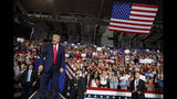 President Donald Trump arrives to speak at a campaign rally at Williams Arena in Greenville, N.C., Wednesday, July 17, 2019. (AP Photo/Carolyn Kaster)