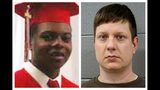 This combination of file photos shows Laquan McDonald and former Chicago Police Officer Jason Van Dyke. The Chicago Police Board on Thursday, July 18, 2019, fired four police officers for allegedly covering up Dyke's 2014 fatal shooting of teenager McDonald. (Family Photo, Cook County Sheriff's Office via AP, File)