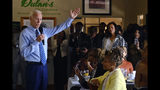 Democratic presidential candidate former Vice President Joe Biden speaks to community faith leaders after serving breakfast during a visit to Dulan's Soul Food on Crenshaw, Thursday, July 18, 2019, in Los Angeles. (AP Photo/Richard Vogel)