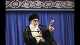 In this picture released by an official website of the office of the Iranian supreme leader, Supreme Leader Ayatollah Ali Khamenei speaks in a meeting with a group of clerics, in Tehran, Iran, Tuesday, July 16, 2019. Khamenei said Tuesday his country will retaliate over the seizure of an Iranian supertanker carrying 2.1 million barrels of light crude oil. The vessel was seized with the help of British Royal Marines earlier this month off Gibraltar. (Office of the Iranian Supreme Leader via AP)