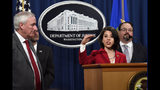 Associate Deputy Attorney General Toni Bacon, second from right, speaks during a news conference at the Justice Department in Washington, Friday, July 19, 2019, on developments in the implementation of the First Step Act. She is joined by from left, Deputy Attorney General Jeffrey Rosen, acting Director of the Bureau of Prisons Hugh Hurwitz, and Director of the National Institute of Justice David Muhlhausen. About 2,200 federal inmates will be released by the federal Bureau of Prisons under the criminal justice reform measure signed into law last year by President Donald Trump. (AP Photo/Susan Walsh)