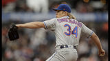 New York Mets pitcher Noah Syndergaard works against the San Francisco Giants during the first inning of a baseball game Thursday, July 18, 2019, in San Francisco. (AP Photo/Ben Margot)