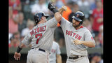 Boston Red Sox's Sam Travis, right, celebrates with Christian Vazquez after they scored on Travis' two-run home run off Baltimore Orioles starting pitcher John Means during the second inning of a baseball game Friday, July 19, 2019, in Baltimore. (AP Photo/Julio Cortez)