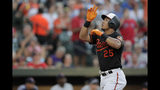 Baltimore Orioles' Anthony Santander gestures after hitting a three-run home run off Boston Red Sox starting pitcher David Price during the first inning of a baseball game Friday, July 19, 2019, in Baltimore. (AP Photo/Julio Cortez)