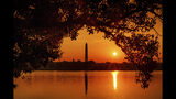 The Washington Monument is silhouetted against the morning sky as the sun rises at the start of a hot day in Washington, Saturday July 20, 2019. Temperatures in the Nation's Capital are expected to reach the upper 90s. (AP Photo/J. David Ake)