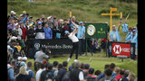 England's Tommy Fleetwood hits his tee shot at the 15th hole during the third round of the British Open Golf Championships at Royal Portrush in Northern Ireland, Saturday, July 20, 2019.(AP Photo/Jon Super)