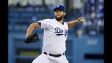Los Angeles Dodgers starting pitcher Clayton Kershaw throws to the plate during the first inning of a baseball game against the Miami Marlins Saturday, July 20, 2019, in Los Angeles. (AP Photo/Mark J. Terrill)