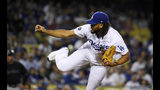 Los Angeles Dodgers relief pitcher Kenley Jansen throws to the plate during the ninth inning of a baseball game against the Miami Marlins Friday, July 19, 2019, in Los Angeles. (AP Photo/Mark J. Terrill)