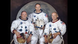 "This March 30, 1969 photo made available by NASA shows the crew of the Apollo 11, from left, Neil Armstrong, commander; Michael Collins, module pilot; Edwin E. ""Buzz"" Aldrin, lunar module pilot. Apollo 11 was the first manned mission to the surface of the moon. (NASA via AP)"