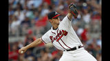 Atlanta Braves starting pitcher Mike Soroka (40) works in the first inning of a baseball game against the Washington Nationals Saturday, July 20, 2019, in Atlanta. (AP Photo/John Bazemore)