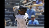 New York Yankees' Didi Gregorius follows through on a RBI single during the fourth inning of a baseball game against the Colorado Rockies Saturday, July 20, 2019, in New York. (AP Photo/Frank Franklin II)