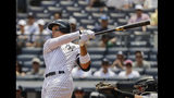 New York Yankees' Aaron Judge follows through on a RBI double during the first inning of a baseball game against the Colorado Rockies Saturday, July 20, 2019, in New York. (AP Photo/Frank Franklin II)