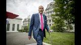 ARCHIVO - En esta fotografía de archivo del 18 de junio de 2019, Larry Kudlow, el principal asesor económico del prsidente Donald Trump, camina por el Jardín Norte de la Casa Blanca en Washington. (AP Foto/Andrew Harnik, Archivo)