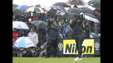 England's Tommy Fleetwood tees off the 9th tee hole in heavy rain during the final round of the British Open Golf Championships at Royal Portrush in Northern Ireland, Sunday, July 21, 2019.(AP Photo/Peter Morrison)