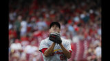 St. Louis Cardinals relief pitcher Giovanny Gallegos reacts after striking out Cincinnati Reds' Scooter Gennett for the final out on a bases-loaded fifth inning of a baseball game, Sunday, July 21, 2019, in Cincinnati. (AP Photo/John Minchillo)