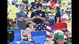 Fans wait for the start of the National Baseball Hall of Fame induction ceremony at the Clark Sports Center on Sunday, July 21, 2019, in Cooperstown, N.Y. (AP Photo/Hans Pennink)