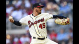Atlanta Braves' Kevin Gausman pitches against the Washington Nationals during the first inning of a baseball game Sunday, July 21, 2019, in Atlanta. (AP Photo/John Amis)