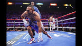Keith Thurman gets up after being knocked down by Manny Pacquiao in the first round during a welterweight title fight Saturday, July 20, 2019, in Las Vegas. (AP Photo/John Locher)