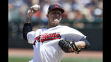 Cleveland Indians starting pitcher Zach Plesac delivers in the first inning of a baseball game against the Kansas City Royals, Sunday, July 21, 2019, in Cleveland. (AP Photo/Tony Dejak)