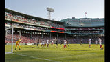 Sevilla goalkeeper Rico Gonzalez Sergio keeps on eye on the ball in front of the goal during the first half of a friendly soccer match against Liverpool at Fenway Park, Sunday, July 21, 2019, in Boston. (AP Photo/Mary Schwalm)