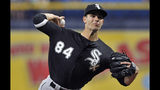 Chicago White Sox starter Dylan Cease pitches against the Tampa Bay Rays during the first inning of a baseball game Sunday, July 21, 2019, in St. Petersburg, Fla. (AP Photo/Steve Nesius)