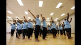 In this Friday, June 28, 2019 photo, AileyCamp dancers rehearse a routine at Martha Ellen Stilwell School of the Arts in Jonesboro, Ga. Campers attended dance classes with Atlanta Ballet instructors each weekday May 30-July 5 to prepare for their performance July 6. (AP Photo/Andrea Smith)
