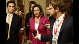 La presidenta de la Cámara de Representantes Nancy Pelosi habla con periodistas en el Capitolio, en Washington el 16 de julio del 2019. (AP Photo/Patrick Semansky)