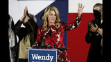 FILE - In this Nov. 4, 2014 file photo, Texas Democratic gubernatorial candidate Wendy Davis waves to supporters after making her concession speech in Fort Worth, Texas. Davis announced Monday, July 22, 2019, that she's running for Congress in 2020. (AP Photo/Tony Gutierrez, File)