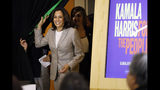 Democratic presidential candidate Sen. Kamala Harris, D-Calif., arrives at a Women of Color roundtable discussion, Tuesday, July 16, 2019, in Davenport, Iowa. (AP Photo/Charlie Neibergall)