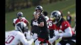 Atlanta Falcons quarterback Matt Ryan (2) looks for an open receiver during their NFL training camp football practice Monday, July 22, 2019, in Flowery Branch, Ga.(AP Photo/John Bazemore)