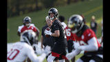 Atlanta Falcons quarterback Matt Ryan (2) looks for an open receiver during their NFL training camp football practice Monday, July 22, 2019, in Flowery Branch, Ga.(AP Photo/John Bazemore)