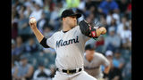 Miami Marlins starting pitcher Trevor Richards delivers during the first inning of a baseball game against the Chicago White Sox, Monday, July 22, 2019, in Chicago. (AP Photo/Charles Rex Arbogast)